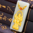 Gold inlaid jade white (talisman) rectangle bag Buddha necklace pendant (purdue beings)