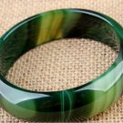 Excellent natural grass green color agate, hand-carved wide bracelet. Beautiful women's favorite