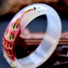 Excellent wide white agate bracelet The peacock Mosaic of carve patterns or