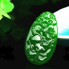 Manual sculpture Bright green jade Chinese zodiac Rat ox tiger. Talisman necklace pendant