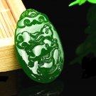 Bright green jade The Chinese zodiac rabbit dragon snake. Talisman necklace pendant
