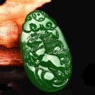 Bright green jade hand-carved zodiac horses Sheep monkey. Talisman necklace pendant