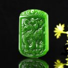 Manual sculpture very bright green jade in extremely good fortune. Necklace pendant.