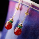 Gold plated alloy Red agate green jade sexy allergy stud earrings. The choice of beautiful lady