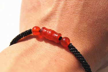 Pure manual weaving transformers Red agate carving bamboo (now rising) bracelet.