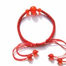 Hand catenary, pure manual weaving red knot in Hong Kong Garden type red agate bracelet.