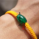 Pure manual weaving yellow/junction + 1 green peace drum agate beads Lucky bracelet