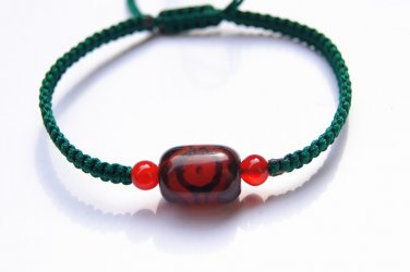 Dark green, flat knot manually + cylindrical tianzhu facebook agate beads lucky bracelet