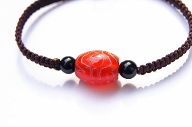 Caramel flat knot manually + drum frosted tianzhu agate beads lucky bracelet