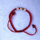 "Manual red snake knot ""three 925 sterling silver bead lucky bracelet"