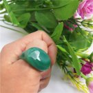 handmade Natural green longan agate oval ring surface ring