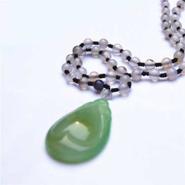 Natural agate type water droplets (heart). Auspicious necklace pendant
