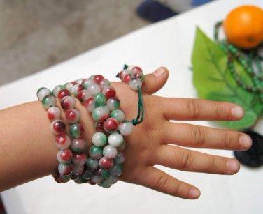 Tibetan Buddhism, colored jade beads. Yoga meditation 108 beads bracelet necklace