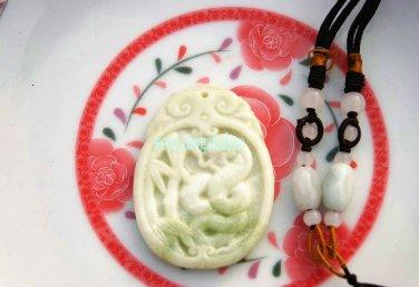 Natural white jade jade, handmade, silver snake play bamboo. Necklace pendant