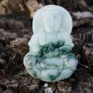 Natural jade amulets natural white blue guanyin necklace pendant