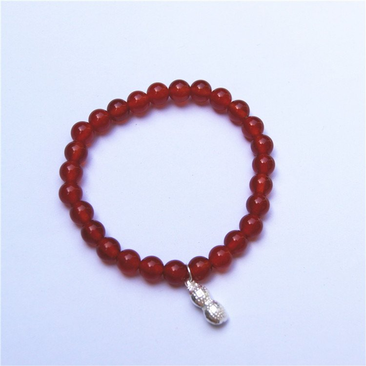 Natural red agate, the round pearl of 27 925 pure silver peanut type charm bracelet