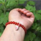 Natural red agate, round pearl 26 925 pure silver ji chicken (auspicious) charm bracelet