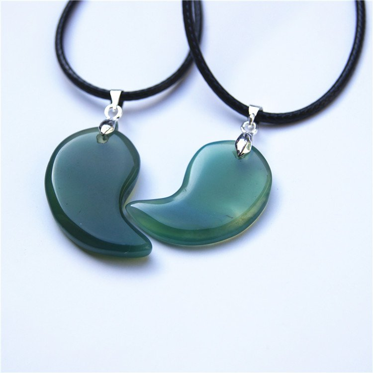 Natural green agate Yin and Yang fish (lovers pair). Talisman necklace pendant