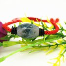 Hand woven red snake knot + natural aquatic agate, (drum type) charm bracelet