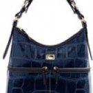 Authentic North South Leather Croco Dooney & Bourke Handbag Purse NAVY BLUE