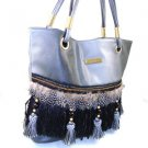 Nice 100% Authentic Nicole Lee Feather Black Gray Handbag