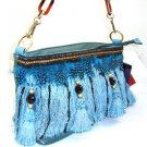 Nice 100% Authentic Nicole Lee Feather Blue Fringe Handbag - Other colors available