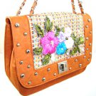 Nice 100% Authentic Nicole Lee Embroidered Flower Leaf Orange Handbag