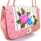 Nice 100% Authentic Nicole Lee Embroidered Flower Leaf Pink Handbag