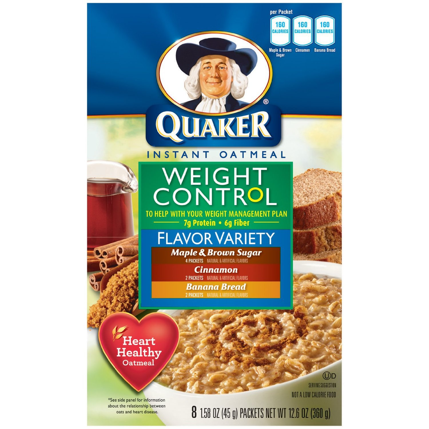 Quaker Instant Oatmeal Weight Control, Flavor Variety Pack ...
