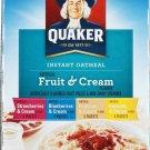 Quaker, Instant Oatmeal, Fruit & Cream, Value Pack, 18 Count, 27.2oz Box