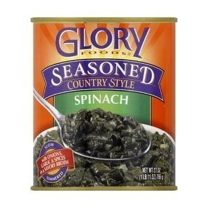 Glory Foods, Seasoned, Spinach, 27oz Can (Pack of 4)