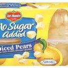 Del Monte Diced Pears No Sugar Added 4 - 4 oz cups