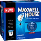 Maxwell House, Original Roast, Medium Roast, K-Cup Single Serve Coffee, 18 Count, 6.2oz Box