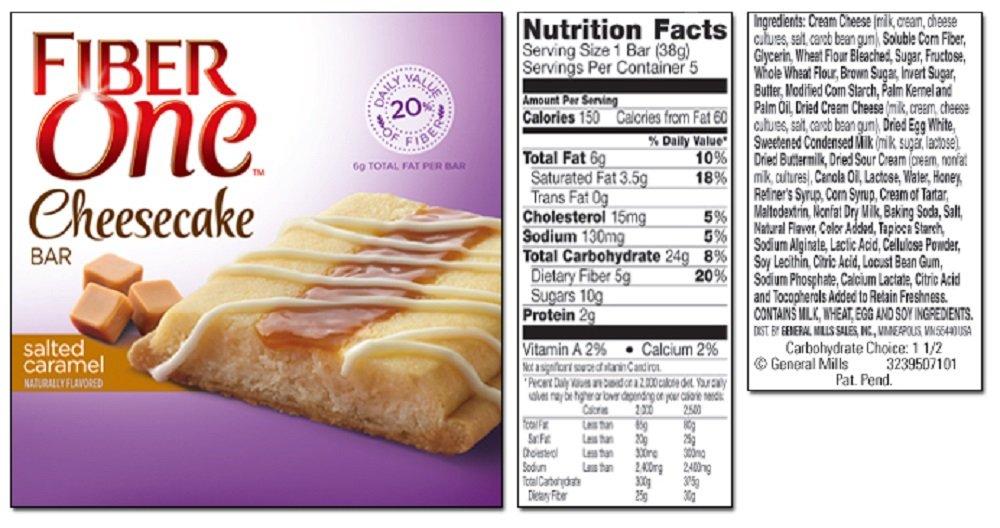 General Mills, Fiber One, Cheesecake Bars, 5 Count (1.35oz Each), 6.75oz Box (Salted Caramel)