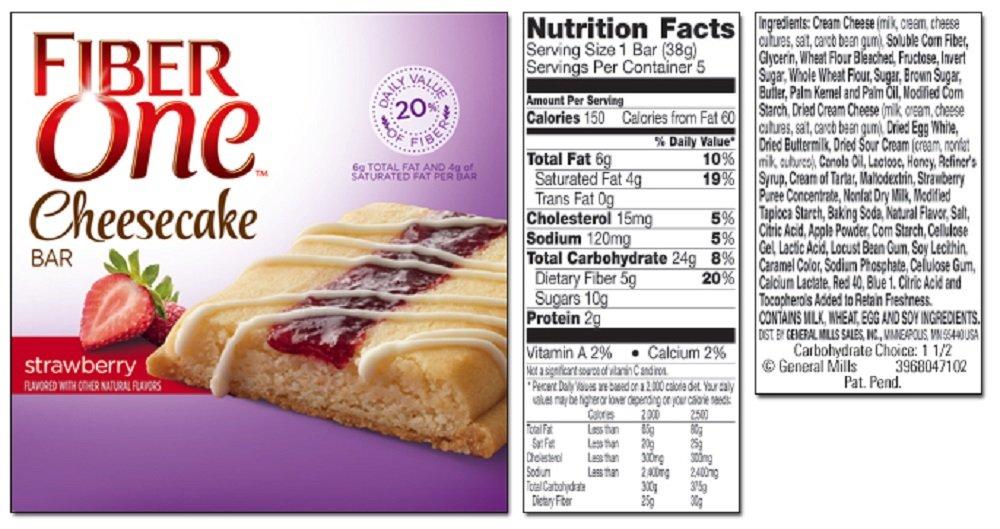 General Mills, Fiber One, Cheesecake Bars, 5 Count (1.35oz Each), 6.75oz Box (Strawberry)