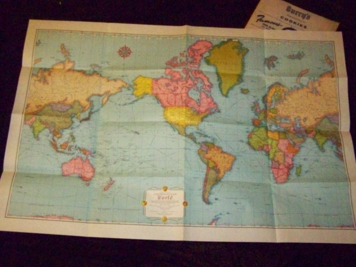 Vintage 50s BURRY'S COOKIES Rand McNally Premium MAP