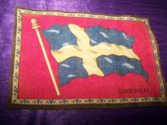 "Antique TOBACCO Flannel Felt 8"" SWEEDEN FLAG Premium"
