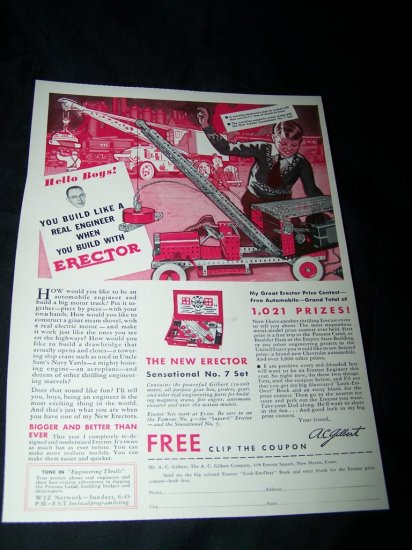 Vintage 1933 GILBERT ERECTOR SET Truck Toy Print Ad