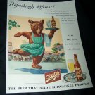 Vintage 1945 SCHLITZ BEER Ice Skating Bear Print Ad