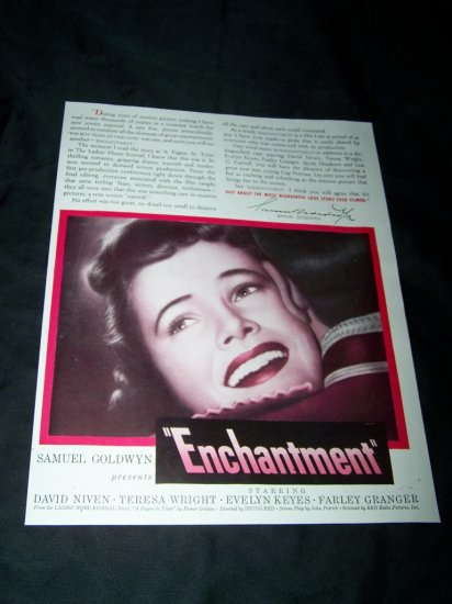 Vintage 1944 ENCHANTMENT Teresa Wright Movie Print Ad
