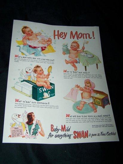 Vintage 1945 SWAN Soap Baby Comic Print Ad