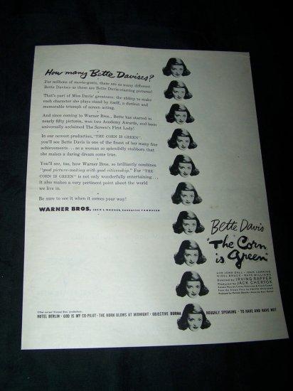 Vintage 1945 CORN IS GREEN Bette Davis Movie Print Ad