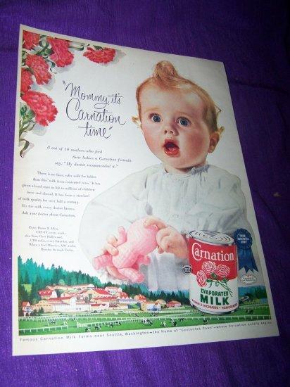 Vintage 1954 CARNATION MILK Baby Girl Print Ad