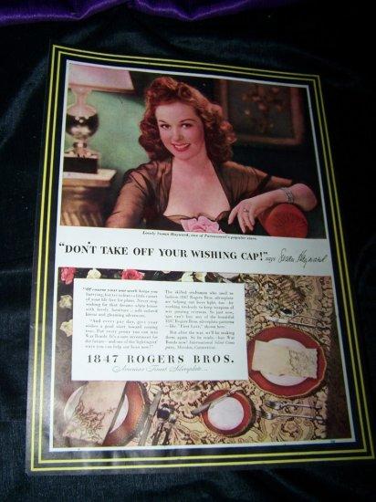 1943 1847 ROGERS BROTHERS Silver Susan Hayward Print Ad