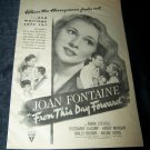 1946 FROM THIS DAY FORWARD Joan Fontaine Movie Print Ad
