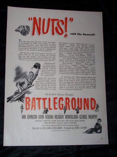 Vintage 1949 BATTLEGROUND WWII Movie Print Ad