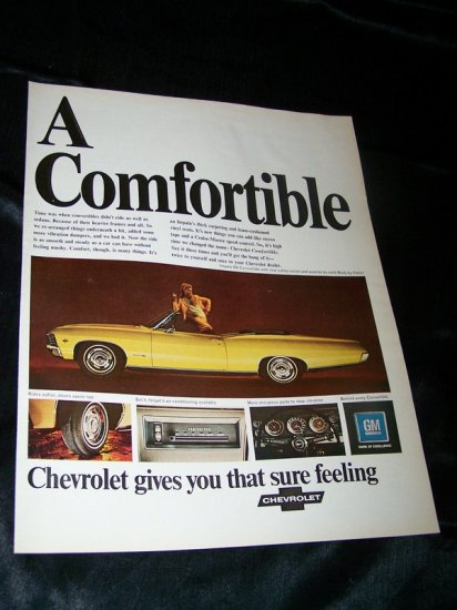 Vintage 1967 CHEVROLET IMPALA SS CONVERTIBLE Print Ad