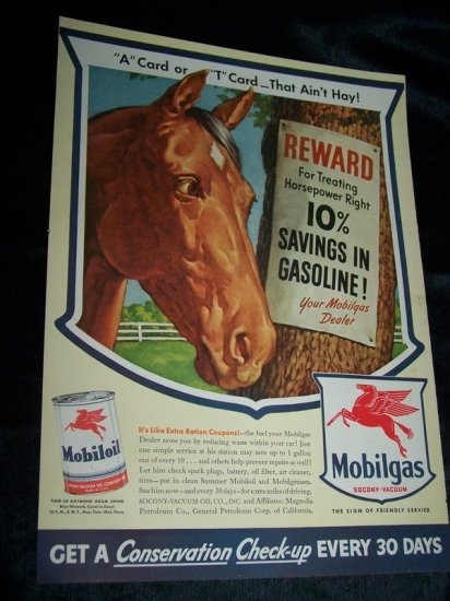 Vintage 1940s Mobilgas Mobiloil Horse Power Print Ad