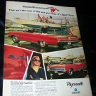 Vintage 1967 PLYMOUTH Sport Fury Boating Boat Print Ad