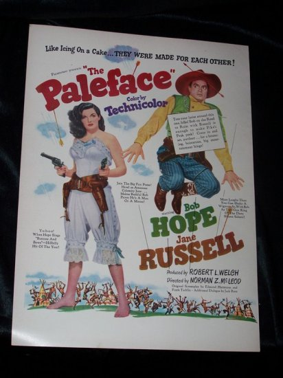 Vintage 1948 PALEFACE Jane Russell Bob Hope Print Ad